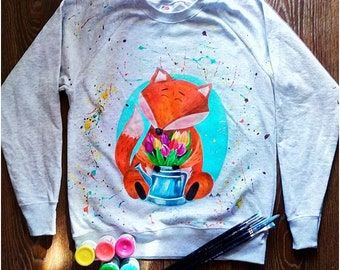Hand Painted Sweatshirt - Cute Fox Clothing - Present For Her - Birthday Gift For Women Sweatshirt - Animal Lover - Fox Lover Gift