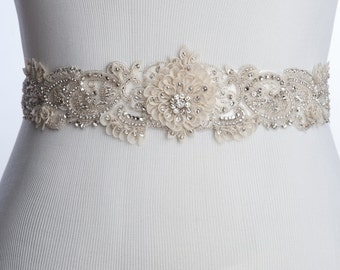 60% off Colyn Bridal sash, wedding dress sash, tradeshow sample