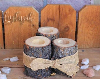 Wooden Log Tea Light Holder Rustic Candle Set of 3