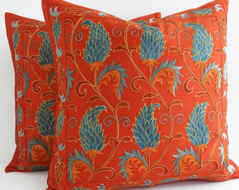 SALE Embroidered Silk Suzani Pillow Cover Solid Vibrant Orange, Colourful Bohemian Pillow, Floral Boho Cushion, Embroidered Cushion Cover