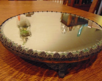 Vintage Beveled Glass Metal Trimmed Vanity Mirror (free shipping)