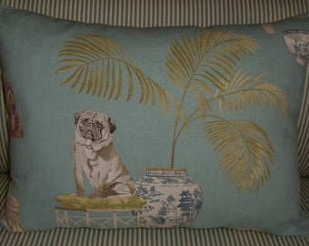 PUG & PALM TREE pillow 100% cotton in aqua blue and green