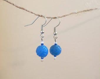Blue Textured Glass Drop Earrings