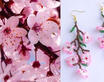 """Sakura flowers. Delicate seeds beaded Earrings Cherry blossom 4,3"""" Sakura Festival"""