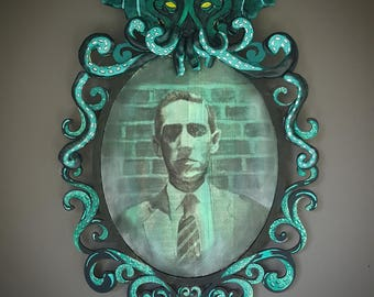 HP Lovecraft Portrait/Handmade Cthulhu Frame