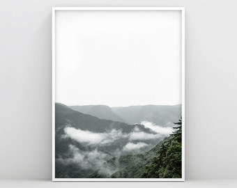 Minimalist Forest Print, Nature Wall Art, Mountain Wall Art, Landscape Wall Print, Forest Home Decor, Scandinavian Home Decor, Nordic Style