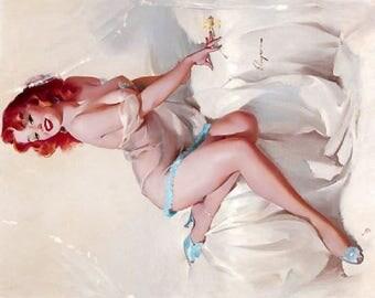 Rare RARE GIL ELVGREN Pinup Girl  8 x 10 Art Print