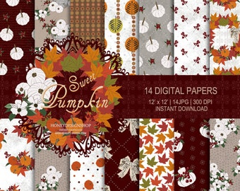 Pumpkin digital paper, fall digital paper, Thanksgiving digital, pumpkin digital background, seamless pattern, pumpkin paper, fall paper