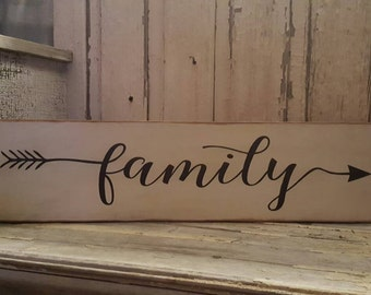 Family with arrow wooden sign