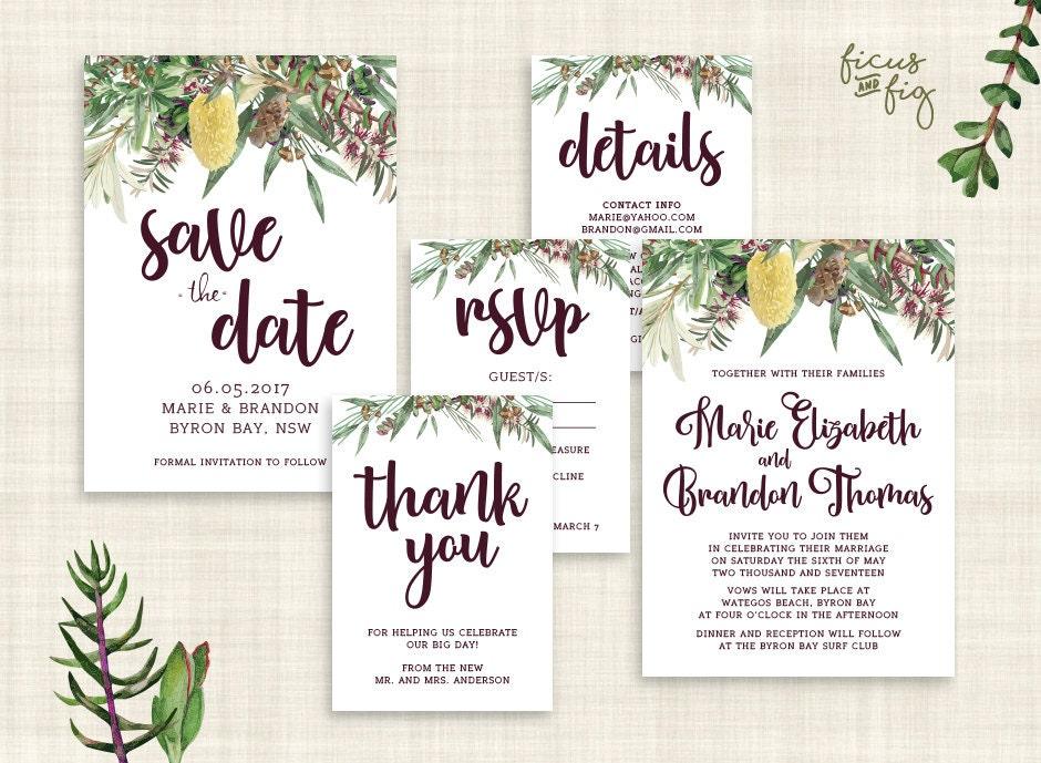 Native American Wedding Invitations: Wedding Invitation Set Printable Wedding Invitation Set