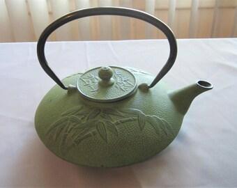 """Vintage Cast Iron Tea Pot, 8"""" Wide"""