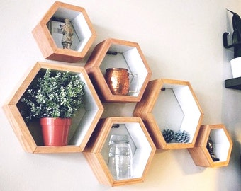 Set of 3 Hexagon Shelves - Natural wood stain with white interior