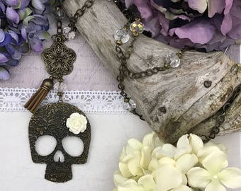 Day of the dead skull pendant necklace with flower and tassel, Halloween jewelry, gift for her, birthday gift, free shipping