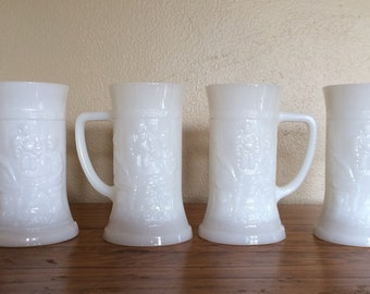 Milk Glass Beer Steins