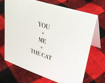 You + me + the cat card // Valentine's Day Card // Romantic Card // Couples Card // Love Card // Cute Card // To Groom Card // To Bride Card
