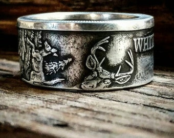 Free shipping 1oz. .999 fine Silver Whitetail Deer Coin Ring