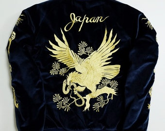 Tailor Toyo Japan Golden Hawk Eagle Bird Dragon Ryu Tattoo Mt Fuji Fujisan Blue Velveteen Embroidered Souvenir Sukajan Jacket Art SK2005