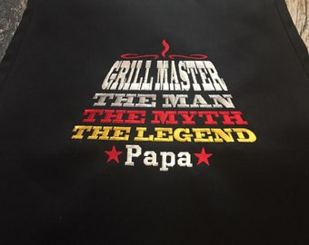 Grill Master Personalized Apron - The Man, The Myth, The Legend - Available in more colors of Aprons - BBQ Men's Apron
