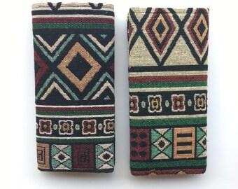 Tribal Wallet, Fabric Wallet, Womens Wallet, Handmade Wallet, Lady Wallet, Cute Wallet, Lightweight Thin Wallet, Green Pattern Wallet