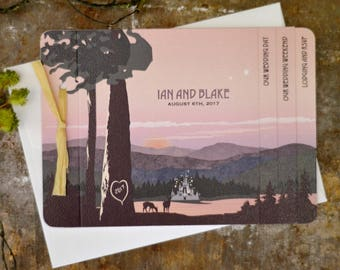 Dramatic Dusk over Lake Fairytale Castle with Tuscan Greenery Livret Wedding Invitation with A7 Envelope - BP1