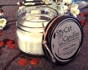 SoyCat Candles 4 oz Clean Cotton (Fresh linen scented/100% Soy Wax/Homemade/Rustic Style)