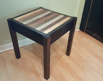 Rustic Wood End Table With Concealed Compartment