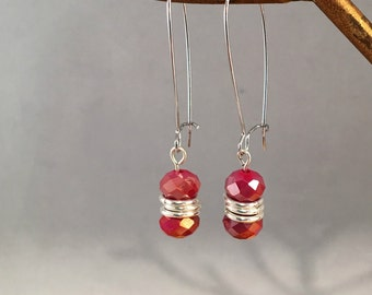 Ruby Red Czech Fire polished glass dangle earring