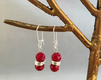 Ruby Red Colored Czech Fire polished glass dangle earring