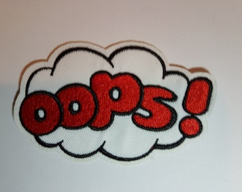OOPS Embroidered Iron On Sew on Patch Transfer Comic Book Super Hero Transfer