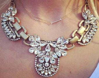 Gorgeous Antique Gold Finish & Crystal Statement Necklace