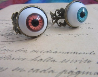 Ring Doll Eye Blue/Brown-antique bronze-charms-watermarks