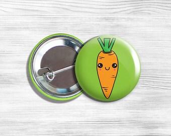 "Kawaii Carrot Vegan Vegetarian Vegetable Pinback Button Pin 1.75"""