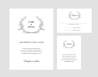Printable Wedding Invitation SET, Wedding Template, Black And White Invitation, Wedding Invitation Template Download, DIY Invitations #26