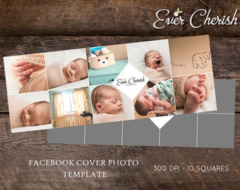 4-Diamond 10-Square Photo Digital Collage Facebook Cover Photo Template PSD Social Media Blog Photography