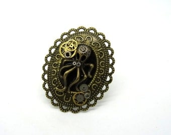ring steampunk octopus lace and COG