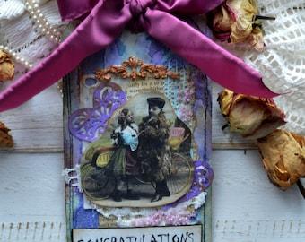 "Vintage style mixed media gift tag journal tag keepsake tag. ""Congratulations"""