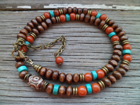 Dzi Bead Tibetan Necklace, Natural Stones Red Jasper, Turquoise and Natural Wooden Beads, Ethnic Necklace,  Tibetan Dzi Necklace