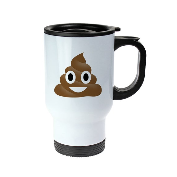 Thermo Mug With Emoji Print - Made From Stainless Steel - Leak-Proof Thermos Cup With Lid And Handle