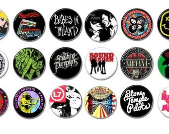 Alternative Rock band buttons! (badges, pins, grunge, Seattle scene, nineties rock, heavy metal, 25mm, punk)