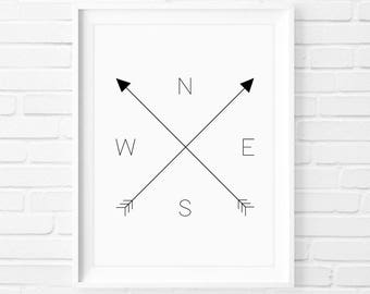Compass - Instant Download Digital Print Interior Design Home Decor Living Room Bedroom Printable Art Quote Poster Explore Travel Arrows