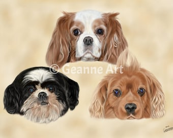 Drawing Collage Dogs - Art Print from digital drawing