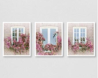Dreamy Windows - fine art print set, triptych wall art, set of 3 prints, window decor, flower print, flower photography, old windows, canvas