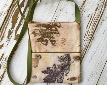Eco printed small cross shoulder bag