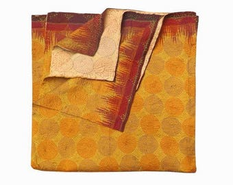 Vintage Beautiful Kantha Infinity Reversible Scarf Silk Sari Stole Women Shawl Hand Stitch Embroidered wrap