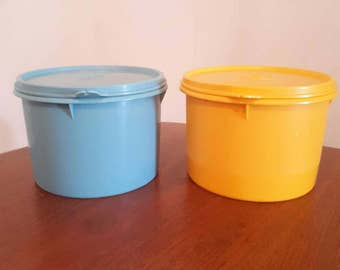 Vintage Tupperware containers Blue and Yellow