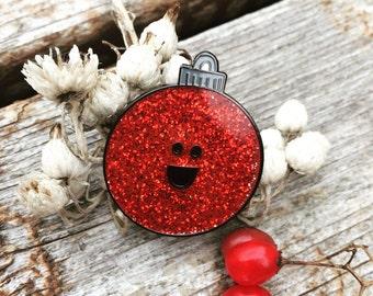 Happy Christmas Ornament Enamel pin - Red Glitter Vintage Christmas Ornament Pin - Stocking Stuffer - Secret Santa