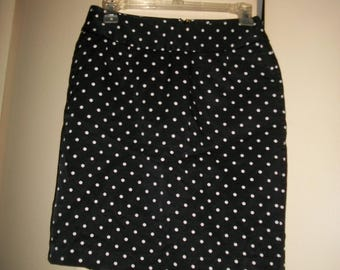 Vintage 90s Black and White Polka Dot High Waist Skirt Size 2