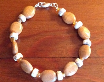Handmade Bacelet with Stone and Glass Beads, Natural, Jewelry, Gift