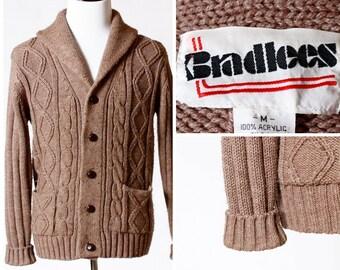 Vintage Men's Cardigan Cable Sweater - Retro 80's Medium M Brown Bradlees