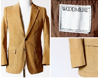 Vintage Men's Corduroy Jacket Coat - 70s Woodmere 36R